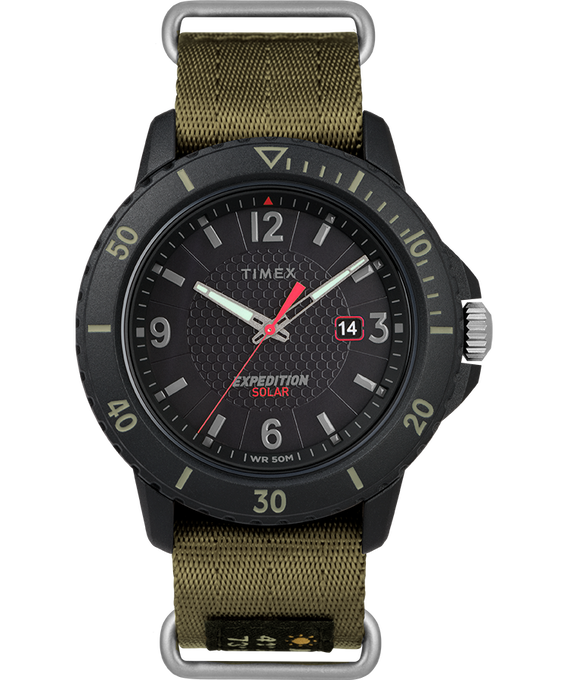 Expedition Gallatin Solar 45mm Fabric Strap Watch Black/Green large