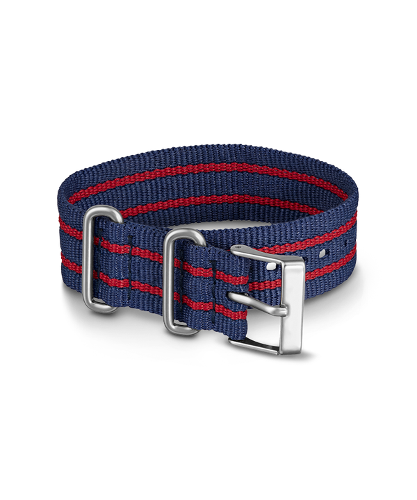 20mm Striped Nylon Strap Blue (large)