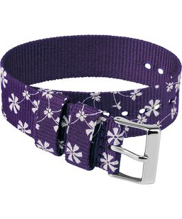 20mm Fabric Single Layer Slip Thru Strap with Floral Pattern Purple large