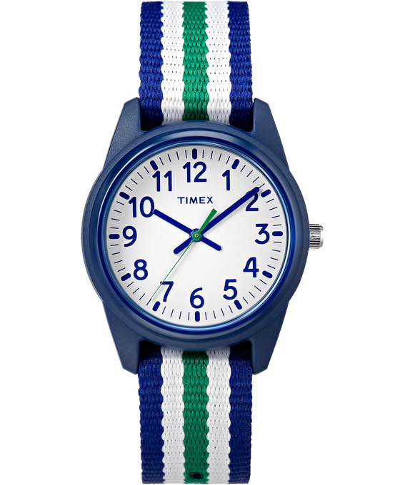30mm Kids Striped Nylon Analog Watch Blue/White large