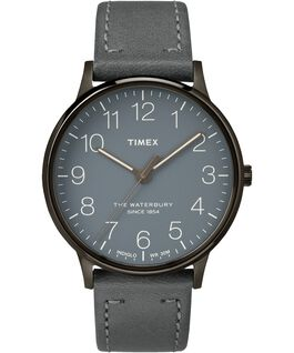 Waterbury 40mm Classic Leather Strap Watch Gray large