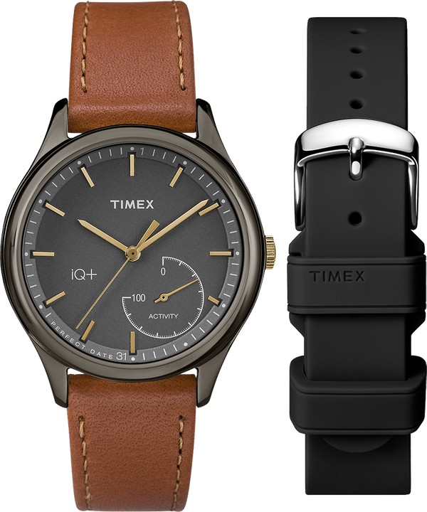 iQ+ Move 37mm Gift Set with Extra Silicone Strap Gray/Brown/Black large