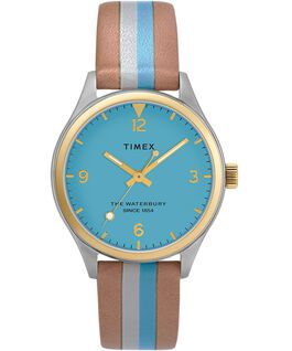 Waterbury Traditional Womens 34mm Leather Strap Watch with Stripe Two-Tone/Tan/Blue/Gold-Tone large