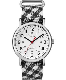 Weekender Patterns 38mm Fabric Strap Watch Chrome/Black/White large