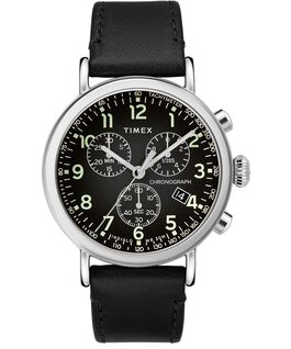 Standard Chronograph 40mm Leather Strap Watch Silver-Tone/Black large