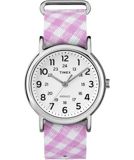Weekender Patterns 38mm Fabric Strap Watch Chrome/Pink/White large