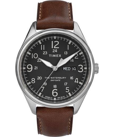 92c7b72bc Waterbury Traditional Day Date 42mm Leather Strap Watch Stainless-Steel/Brown/Black  large