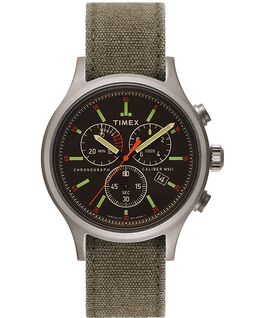 Allied Chronograph 42mm Stonewashed Fabric Strap Watch Silver-Tone/Black/Grey large