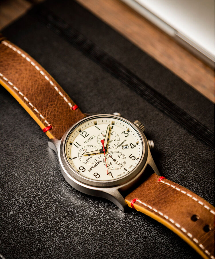 9a2e8fff3541 Expedition Scout Chronograph 42mm Leather Strap Watch  Silver-Tone Brown Natural large