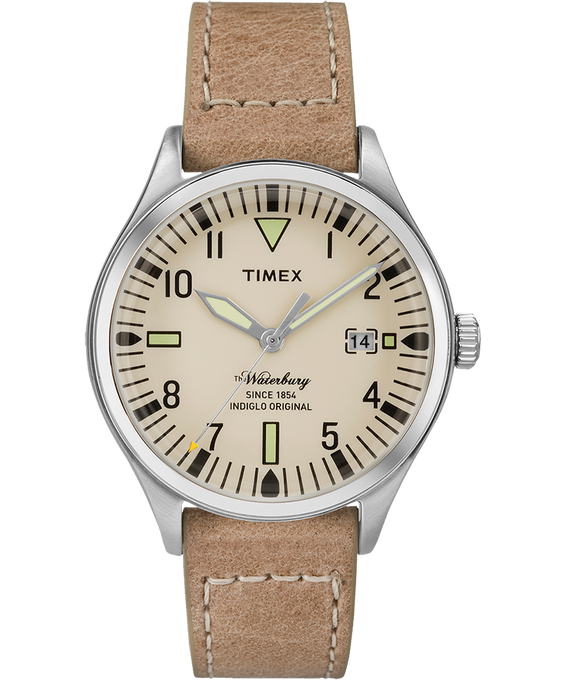 Waterbury 38mm Leather Watch Stainless-Steel/Tan/Natural large