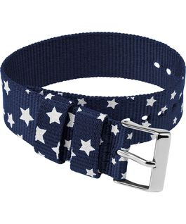 20mm Fabric Single Layer Slip Thru Strap with Stars Blue large