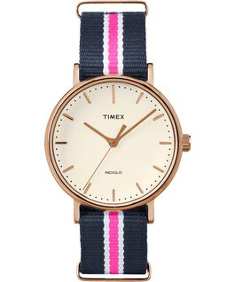 Fairfield 37mm Nylon Strap Watch Rose-Gold-Tone/Blue/White large