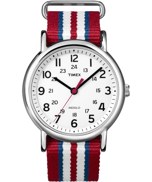 Weekender 38mm Nylon Strap Watch Chrome/Red/White large