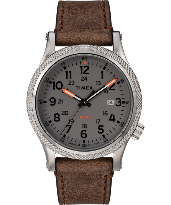 Allied LT 40mm Leather Strap Watch Silver-Tone/Brown/Gray large