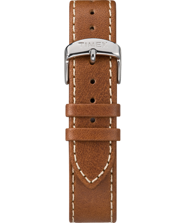 Brown Two-Piece Stitched Leather Strap Brown large
