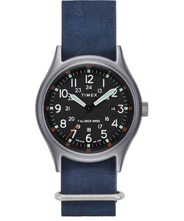 MK1 40mm Stonewashed Leather Strap Watch Silver-Tone/Blue/Black large